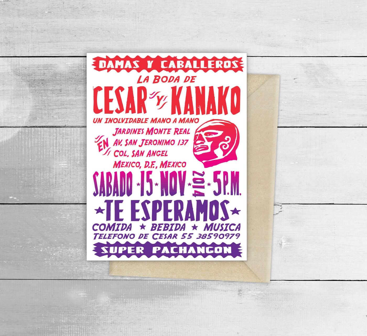 Lucha Libre Wedding Design Invitation