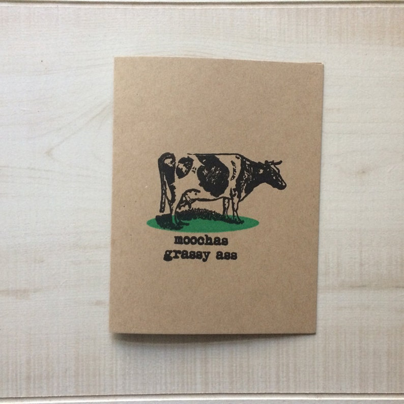 Moochas Grassy Ass Greeting Card Spanish Blank Note
