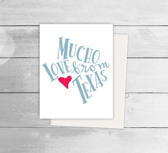 Mucho Love From Texas Greeting Card Spanish Blank Note Language Funny Birthday