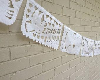 White Papel Picado Mexican Wedding Banner Garland