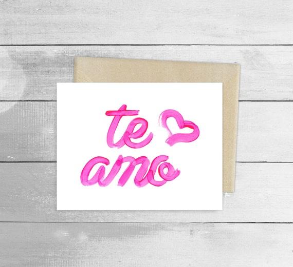 I Love You Te Amo Greeting Card Spanish Blank Note