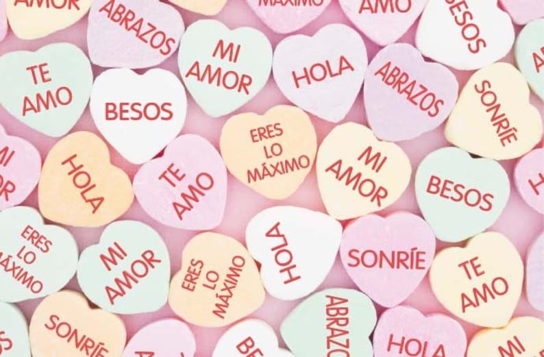 722269755e7 Edible Candy Spanish Conversation Hearts Pink Candy Hearts
