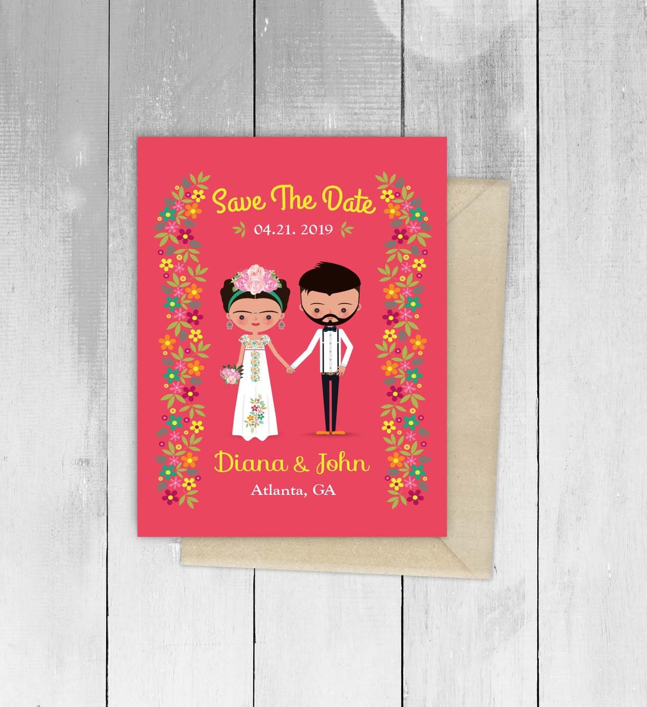 Frida Wedding Party Invitation Mexican Save the Date Fiesta | Etsy