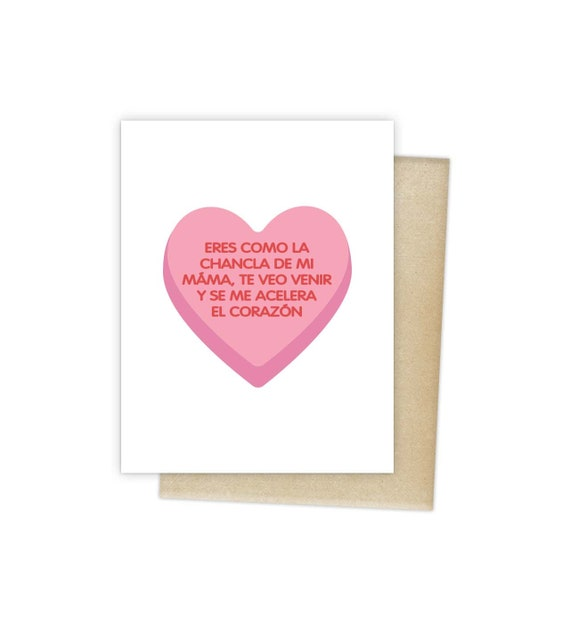 Sweethearts Conversation Candy Chancla Greeting Card Spanish Blank Note Language Funny Birthday