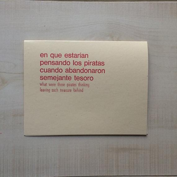 What Were Those Pirates Thinking Greeting Card Spanish Blank Note Language Funny Birthday Pun