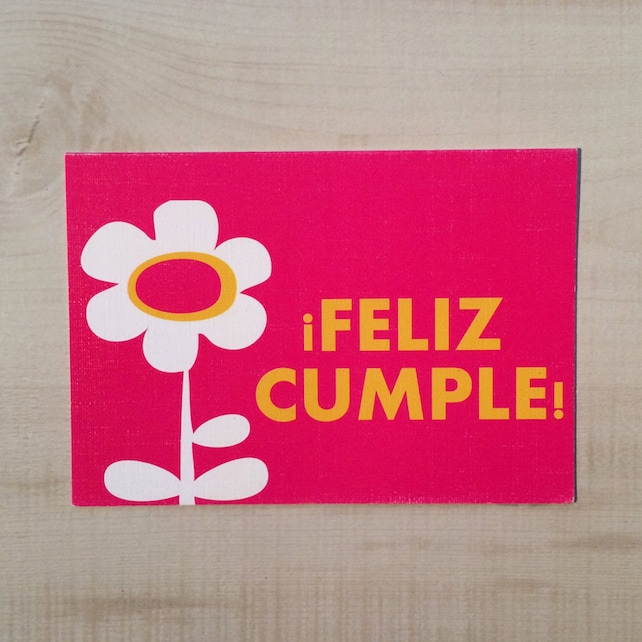 Feliz Cumple Happy Birthday Pink Greeting Card Spanish Blank Note Language Funny
