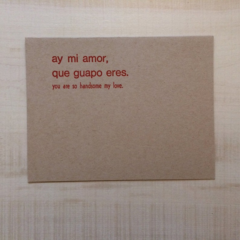 You Are So Handsome My Love Greeting Card Spanish Blank Note Language Funny Birthday Pun