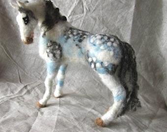 Needle felted dappled horse sculpture