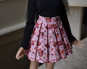 Pink skirt with vampire lips for minifee BJD clothes