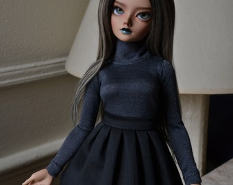 Navy/grey turtleneck with glitter speckles for minifee bjd clothes