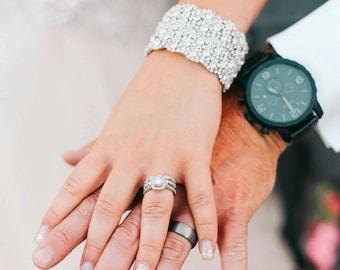 Wedding Bridal Rhinestone Crystal Bracelet Cuff with Ribbon Closure