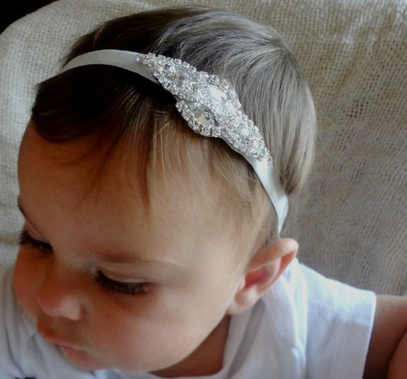 Baby Girl Pretty Silver Christening Headband Headdress Wedding Party