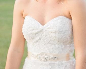 Wedding Dress Embellished Beaded Rhinestone Belt Wedding Sash