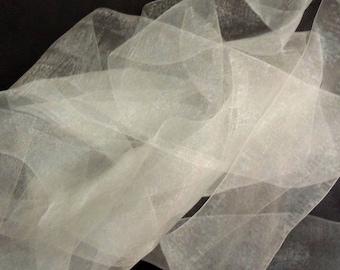 Ivory organza organdy tie sash ribbon wedding gown dress