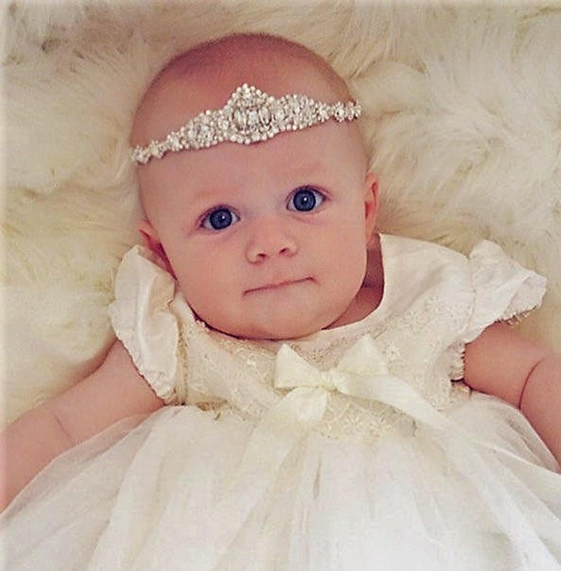 toddler headband,Tiara Girl Hair Bow,Baby Flower Headband newborn headband Tiara Baby headband Baptism Headband baby girl headband