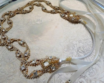 Double CRYSTAL SCALLOP HEADWRAP Gold Or Silver Bridal Crystal Rhinestone Hair Band Headpiece Headband