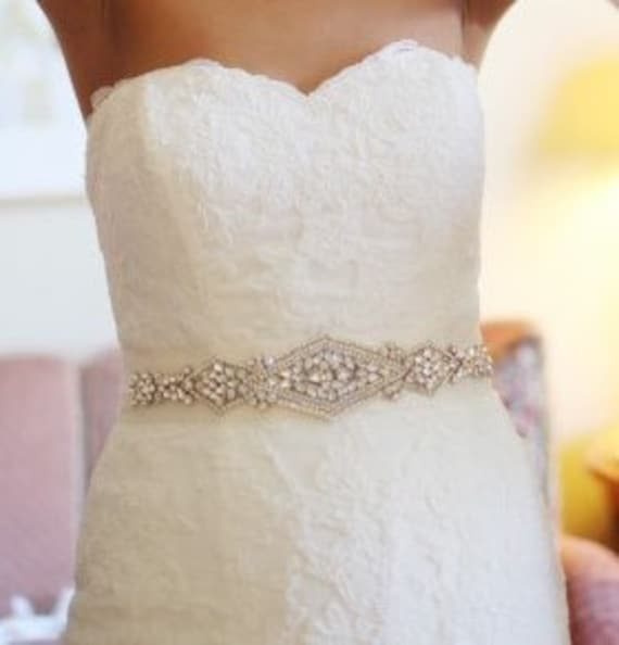 Natalia Bridal Sash Beaded Sash Wedding Dress Sash Crystal Etsy