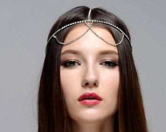 Zorina Bridal Wedding Bohemian Rhinestone Headband Head Piece Forehead Headdress Head Chain Headchain