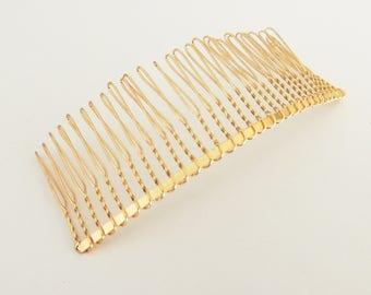 Wedding veil comb DIY twisted wire metal comb gold tone