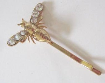 Gold Bee Hair Clip with Swarovski Crystals