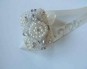 Bridal Bouquet Jewelry Crystal Beaded Embellishment Wrap