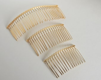 Wedding veil comb DIY twisted wire metal comb gold tone 4 sizes