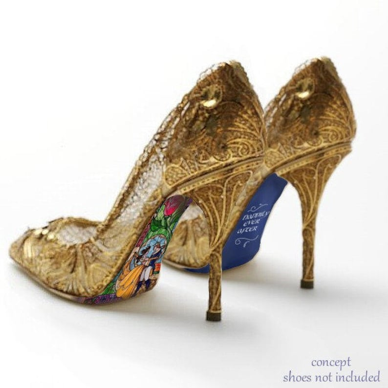 bdc856ac502 Custom hand painted Beauty and the Beast Stained Glass heels