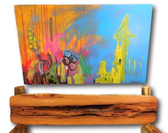 """Abstract Painting, 30"""" x 20"""" Acrylic Painting, Abstract Art, Contemporary Art, Bright Colors, Wall Art, Large Painting, Robert R Norman"""