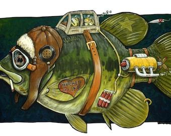 Fish Art, Humorous Fish Art, Hooked for Life Bass Print, 11x17 Print, Funny Fish, Smoking Fish