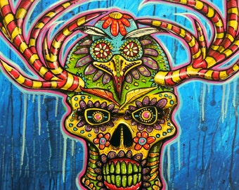 """Day of the Dead Painting, 20"""" x 28"""" Acrylic Painting, Original Modern Art, Blue, Contemporary Art, Skull Painting, Skeleton Art, Colorful"""