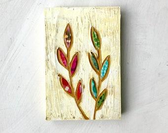 Growth Spurt Botantical mixed media original painting 4x6