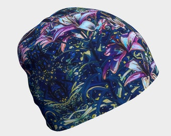Tiger Lilies at Night Beanie