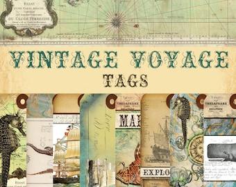 """NEW! Digital Paper """"Vintage Voyage"""" - Tags - 15 Designs"""