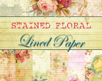 Digital Paper - Digital Lined Paper - Stained Floral Lined Paper Collection - PACK 1 - 5 Different Designs