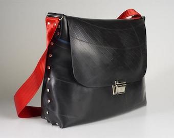 Laptop / Messenger Bag, designer upcycled black innertube. Waterproof eco fashion.