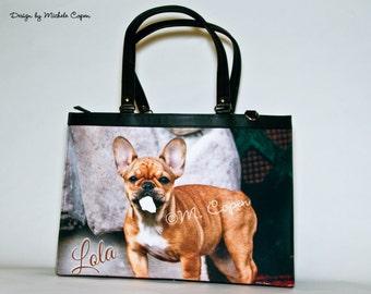 CUSTOM Photo French Bulldog Purse, Custom French Bulldog Bag, Custom French Bulldog Briefcase, Personalized French Bulldog Bag