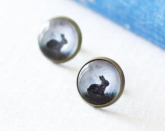 Black Bunny Earrings. Bunny Silhouette Earrings. Black Rabbit in the Moonlight Earrings. Bunny Stud Earrings. Halloween Earrings.