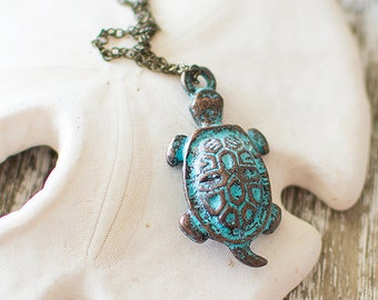 Turtle Necklace. Green Patina Pendant Necklace. Charm Necklace. Sea, Beach, Summer, Tortoise. Layering Necklace.