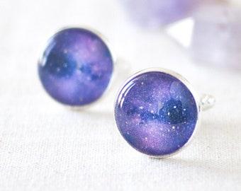 Purple Galaxy Cufflinks, Space Cufflinks, Astronomy Cufflinks, Purple Cufflinks for a Galaxy Wedding. Best Man or Groomsmen Cufflinks, UK.