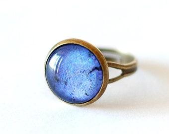 Lapis Lazuli Ring, Blue Ring, Lapis Ring, Adjustable Glass Dome Ring. Handmade Jewellery UK.