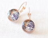 Earth Earrings, Planet Earrings, World Globe Earrings, Solar System Earrings. Rose Gold Glass Dome Earrings. Wanderlust Gift