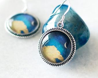 Crescent Moon Earrings. Silver Moon Earrings. Crescent Earrings. Cloud Earrings. Celestial Earrings. Boho Jewelry. Sky Earrings.