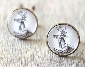 Deer Cufflinks. Woodland Cufflinks. Nature Cufflinks. Mens Cufflinks. Wedding Cufflinks. Stag Cufflinks. Country Wedding.