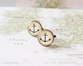 Anchor Cufflinks. Nautical Cufflinks. Beach Wedding. Nautical Wedding. Gift For Sailor. Vintage Cufflinks. Traveller Gift. Wanderlust Gift.