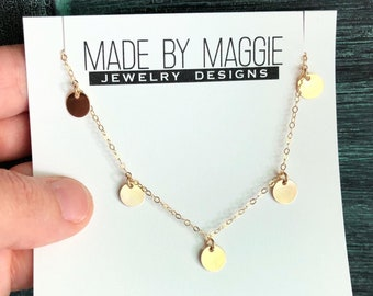 MAMA DOTS - Dainty disc necklace - subtle sparkle - available in sterling silver and 14k gold fill (7 mm discs)