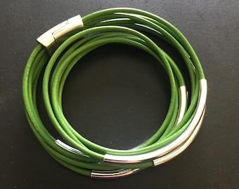 SPRING GREEN Leather Wrap Bracelet - Leather Bracelet - Bracelet stacks