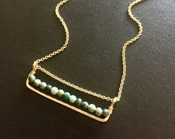 Turquoise and Gold Minimalist Necklace