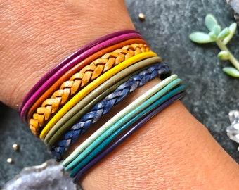 Autumn Inspired RAINBOW Leather Cuff Bracelet