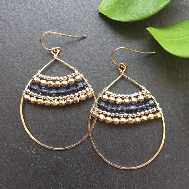 Hoop Earrings  14k Gold Fill Wrapped Earrings  Mixed Metal image 0