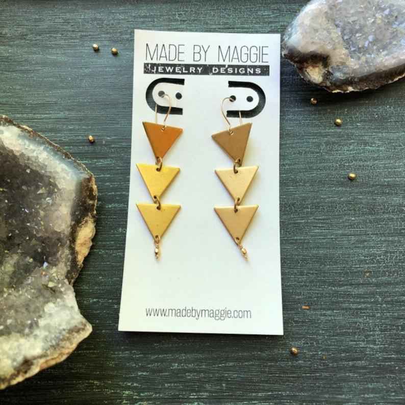 Brass triangle dangles in 14 kgold fill kidney earwires image 0